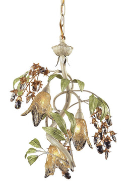 ELK Lighting Lighting 86051 Three Light Chandelier In Seashell And Amber Glass - ELKLightingCenter - 1