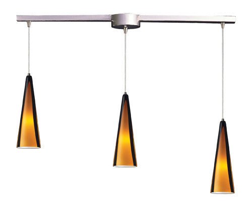 ELK Lighting 545-3L-Sah Three Light Pendant In Satin Nickel And Sahara Glass - ELKLightingCenter