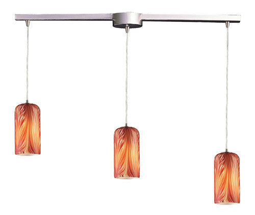 ELK Lighting 544-3L-Ml Three Light Pendant In Satin Nickel And Molten Lava Glass - ELKLightingCenter
