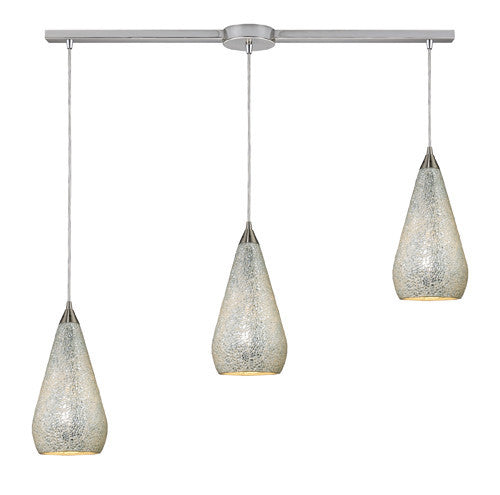ELK Lighting 546-3L-Slv-Crc Three Light Linear Pendant In Satin Nickel With Silver Crackle - ELKLightingCenter