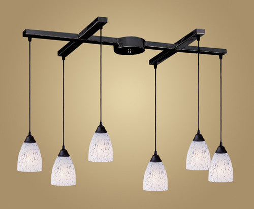 ELK Lighting 406-6Sw Six Light Pendant In Dark Rust And Show White Glass - ELKLightingCenter