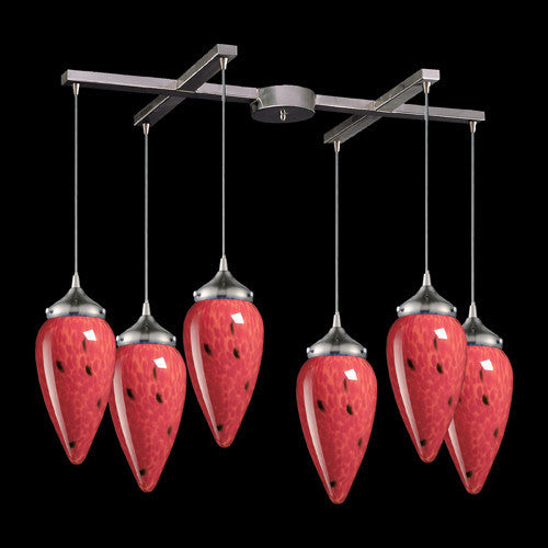 ELK Lighting 503-6Fr Six Light Pendant In Satin Nickel And Fire Red Glass - ELKLightingCenter