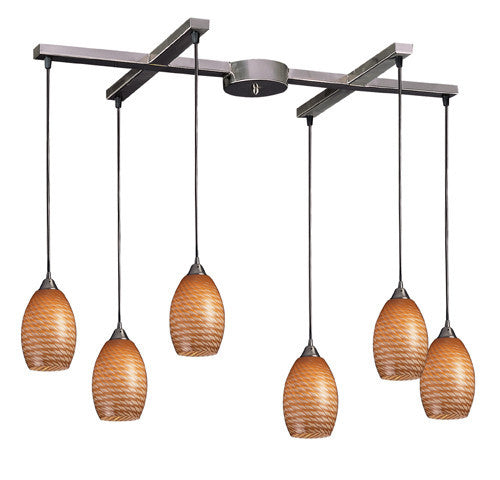 ELK Lighting 517-6C Six Light Pendant In Satin Nickel And Coco Glass - ELKLightingCenter