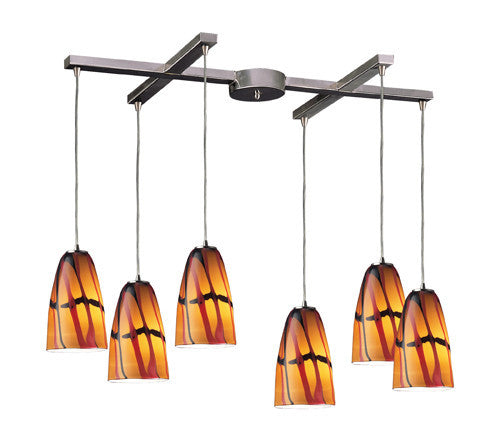 ELK Lighting 541-6Jas Six Light Pendant In Satin Nickel And Jasper Glass - ELKLightingCenter