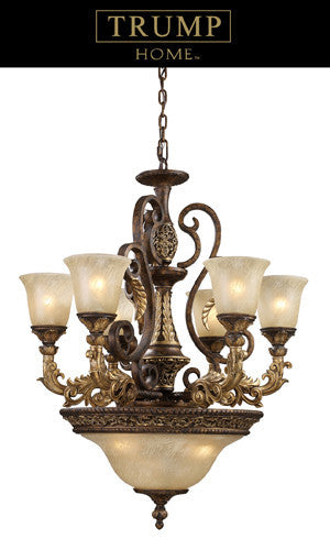 ELK Lighting Lighting 2164-6+3 Nine Light Chandelier In Burnt Bronze - ELKLightingCenter