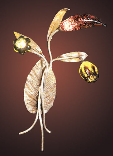 ELK Lighting 1694-3 Three Light Wall Bracket In Silver Leaf And Hand Formed Glass Flowers - ELKLightingCenter