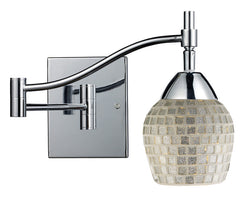 ELK Lighting Celina Celina 1-Light Swingarm Sconce In Polished Chrome And Silver Glass - 10151/1PC-SLV - ELKLightingCenter