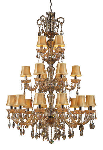 ELK Lighting Lighting 24003-12+6+3 Julianne 12+6+Three Light Chandelier In Black Chrome And Golden Amber Glass - ELKLightingCenter