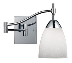ELK Lighting Celina Celina 1-Light Swingarm Sconce In Polished Chrome And Simple Whit Glass - 10151/1PC-WH - ELKLightingCenter