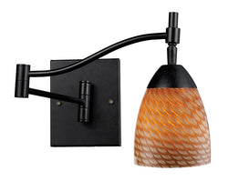 ELK Lighting Celina Celina 1-Light Swingarm Sconce In Dark Rust And Coco Glass - 10151/1DR-C - ELKLightingCenter