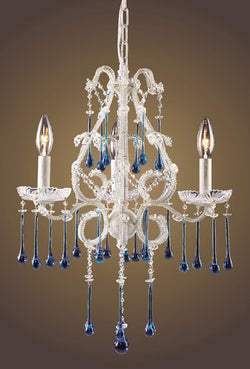 ELK Lighting Lighting 4001-3Aq Three Light Chandelier In Antique White And Aqua Crystal - ELKLightingCenter