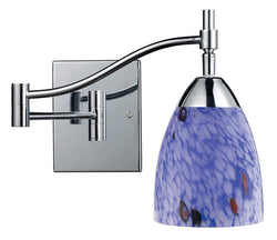 ELK Lighting Celina Celina 1-Light Swingarm Sconce In Polished Chrome And Starburst Blue Glass - 10151/1PC-BL - ELKLightingCenter