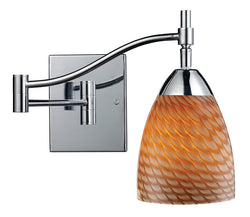 ELK Lighting Celina Celina 1-Light Swingarm Sconce In Polished Chrome And Coco Glass - 10151/1PC-C - ELKLightingCenter