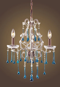 ELK Lighting Lighting 4011-3Aq Three Light Chandelier In Rust And Aqua Crystal - ELKLightingCenter