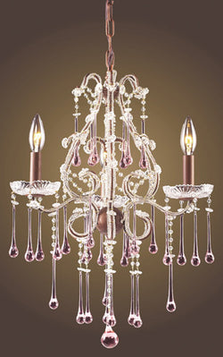 ELK Lighting Lighting 4011-3Rs Three Light Chandelier In Rust And Rose Crystal - ELKLightingCenter