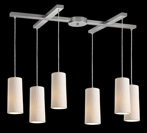 ELK Lighting 10001-6 Cerama Six Light Pendant In Satin Nickel - ELKLightingCenter