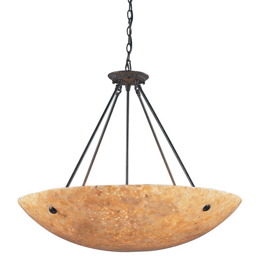 ELK Lighting Stonybrook 8 Light Pendant In Dark Rust And Amber Stone - 8898/8 - ELKLightingCenter