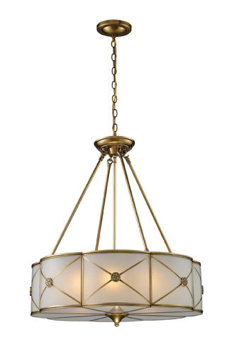 ELK Lighting 22001-6 Preston Six Light Pendant In Brushed Brass - ELKLightingCenter