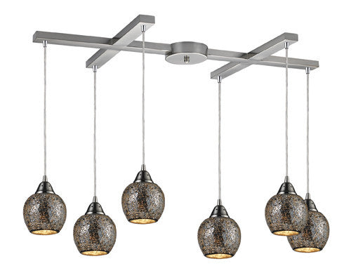 ELK Lighting 10208-6Slv Fission Six Light Silver Pendant In Satin Nickel - ELKLightingCenter