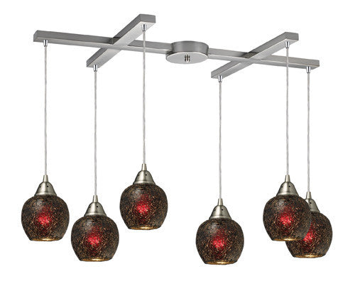 ELK Lighting 10208-6Wn Fission Six Light Wine Pendant In Satin Nickel - ELKLightingCenter