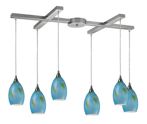 ELK Lighting 10209-6Oas Tranquility Six Light Oasis Pendant In Satin Nickel - ELKLightingCenter