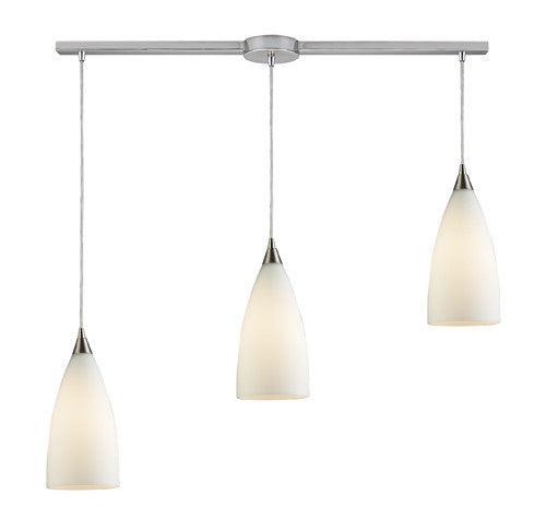ELK Lighting 2580-6 Vesta Six Light Pendant In White In Satin Nickel - ELKLightingCenter