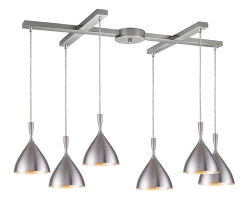 ELK Lighting 17042-6Alm Spun Aluminum Six Light Pendant In Aluminum - ELKLightingCenter
