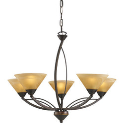 ELK Lighting Lighting 7647-5 Five Light Chandelier In Aged Bronze And Tea Swirl Glass - ELKLightingCenter