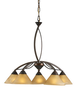 ELK Lighting Lighting 7646-5 Five Light Chandelier In Aged Bronze And Tea Swirl Glass - ELKLightingCenter