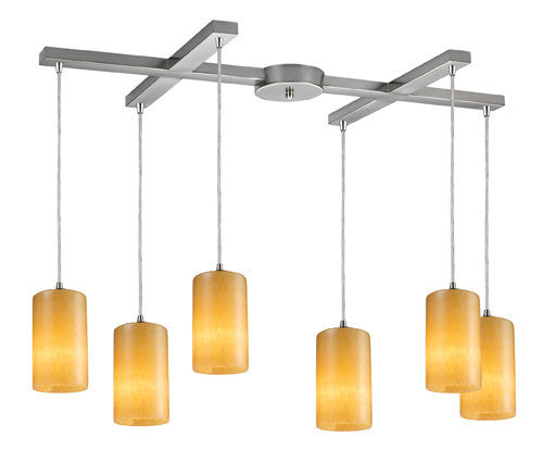 ELK Lighting 10169-6 Coletta Six Light Genuine Stone Pendant In Satin Nickel - ELKLightingCenter