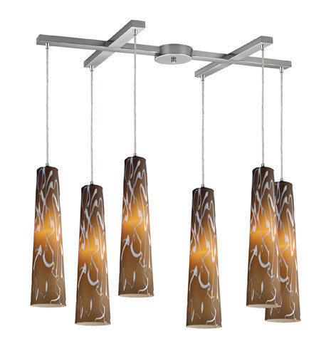 ELK Lighting 10207-6Ss Momentum Six Light Pendant Sandstorm In Satin Nickel - ELKLightingCenter