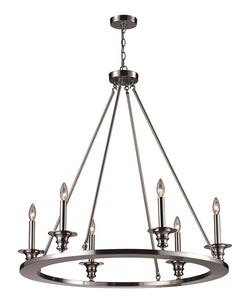 ELK Lighting Port Solerno 6- Light Chandelier In Satin Nickel - 31225/6 - ELKLightingCenter