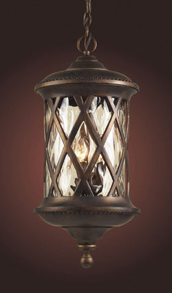 ELK Lighting 42033-3 Three Light Outdoor Pendant In Hazlenut Bronze And Designer Water Glass - ELKLightingCenter