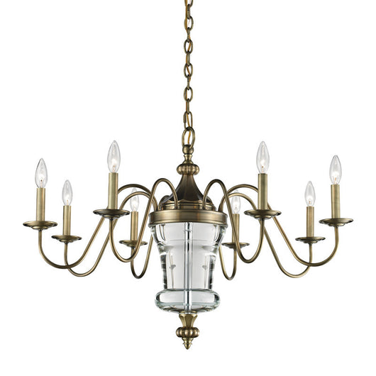 ELK Lighting Bensley 8 Light Chandelier In Antique Brass Crystal Center Column - 44011/8 - ELKLightingCenter