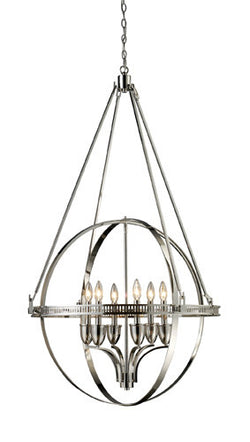 ELK Lighting Lighting 10193-6 Hemispheres Six Light Chandelier In Polished Nickel - ELKLightingCenter