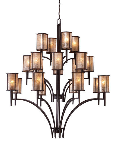 ELK Lighting Lighting 15037-8+8+4 Barringer 8+8+Four Light Chandelier In Aged Bronze And Tan Mica Shades - ELKLightingCenter