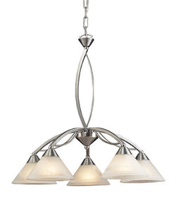 ELK Lighting Lighting 7636-5 Five Light Chandelier In Satin Nickel And Marblized White Glass - ELKLightingCenter