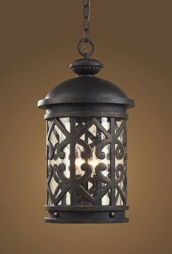 ELK Lighting 42063-3 Three Light Outdoor Pendant  In Weathered Charcoal And Clear Seeded Glass - ELKLightingCenter