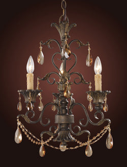 ELK Lighting Lighting 3343-3 Three Light Chandelier With Amber Crystal - ELKLightingCenter - 1