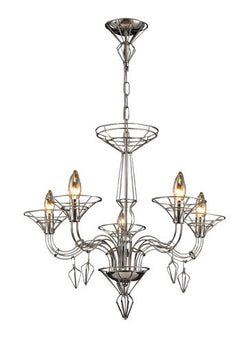 ELK Lighting Lighting 23001-5 Exo Five Light Chandelier In Satin Nickel - ELKLightingCenter