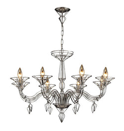 ELK Lighting Lighting 23002-8 Exo Eight Light Chandelier In Satin Nickel - ELKLightingCenter