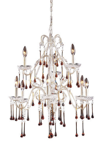 ELK Lighting Lighting 4003-6+3Amb Nine Light Chandelier In Antique White And Amber Crystal - ELKLightingCenter