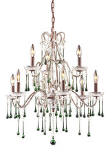 ELK Lighting Lighting 4013-6+3Lm Nine Light Chandelier In Rust And Lime Crystal - ELKLightingCenter - 1