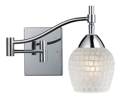 ELK Lighting Celina Celina 1-Light Swingarm Sconce In Polished Chrome And White Glass - 10151/1PC-WHT - ELKLightingCenter