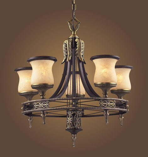 ELK Lighting Lighting 2435-5 Five Light Round Chandelier In Antique Bronze & Dark Umber And Marblized Amber Glass - ELKLightingCenter