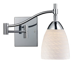 ELK Lighting Celina Celina 1-Light Swingarm In Polished Chrome And White Swirl Glass - 10151/1PC-WS - ELKLightingCenter