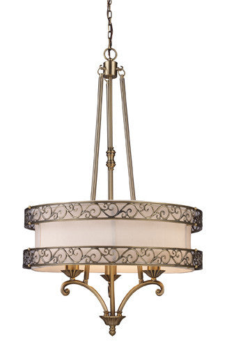 ELK Lighting Lighting 11218-3 Abington Three Light Pendelier In Antique Brass - ELKLightingCenter