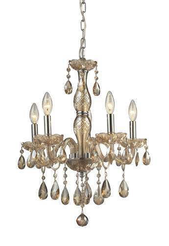 ELK Lighting Lighting 11302-5 Angelique Five Light Chandelier In Amber Teak - ELKLightingCenter
