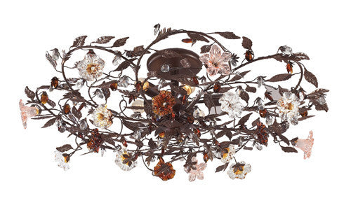 ELK Lighting 7047-6 Six Light Semi Flush In Deep Rust And Hand Blown Florets - ELKLightingCenter