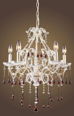 ELK Lighting Lighting 4002-5Amb Five Light Chandelier In Antique White And Amber Crystal - ELKLightingCenter